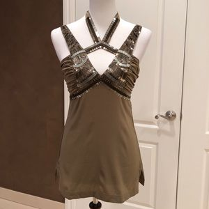 Bebe brown silk blouse with sequin